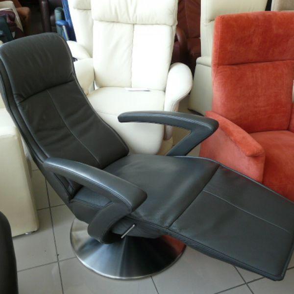 Szürke bőr mechanikus,körbeforgós Relax fotel F061