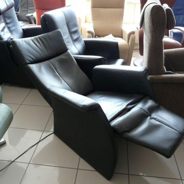 Fekete bőr elektromos Relax fotel F056