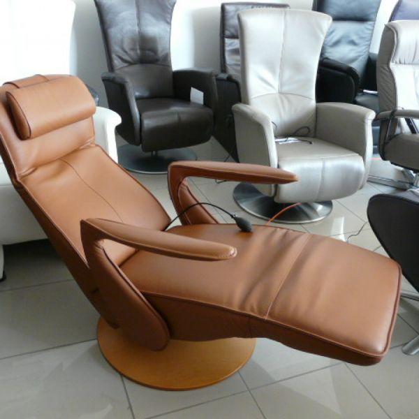 Barna bőr elektromos,körbeforgós Relax fotel F052