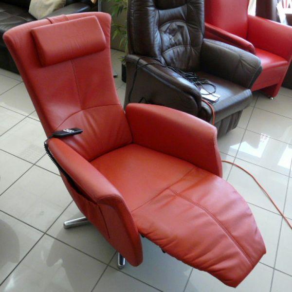 Piros bőr elektromos,körbefogatható Relax  fotel F014