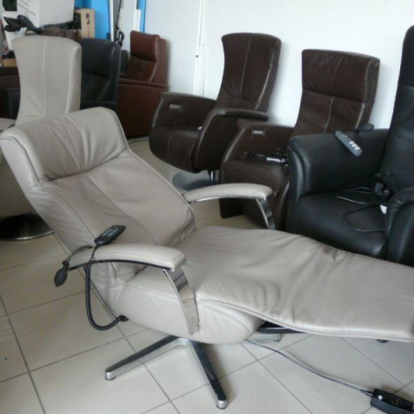 Világosszürke bőr elektromos,körbeforgós Relax fotel F044