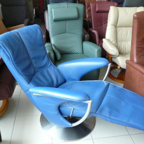 Kék bőr mechanikus,körbeforgós Relax fotel F066
