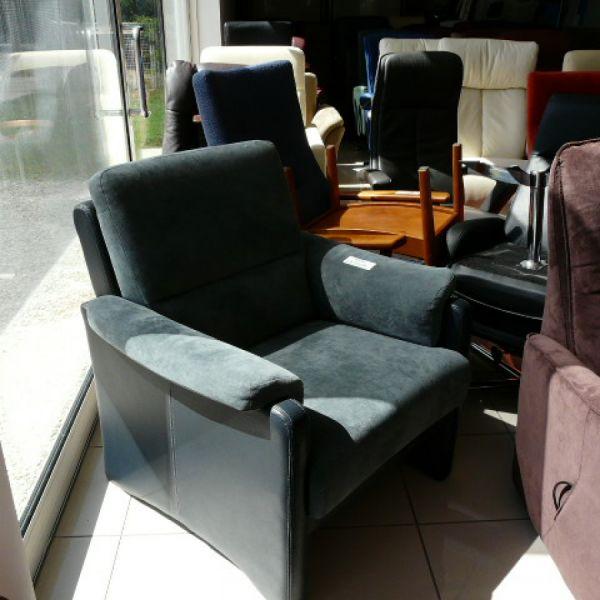 Szürke szövet-bőr  fix Tv fotel F090