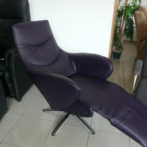 Lila bőr elektromos,körbeforgós  Relax  fotel F039