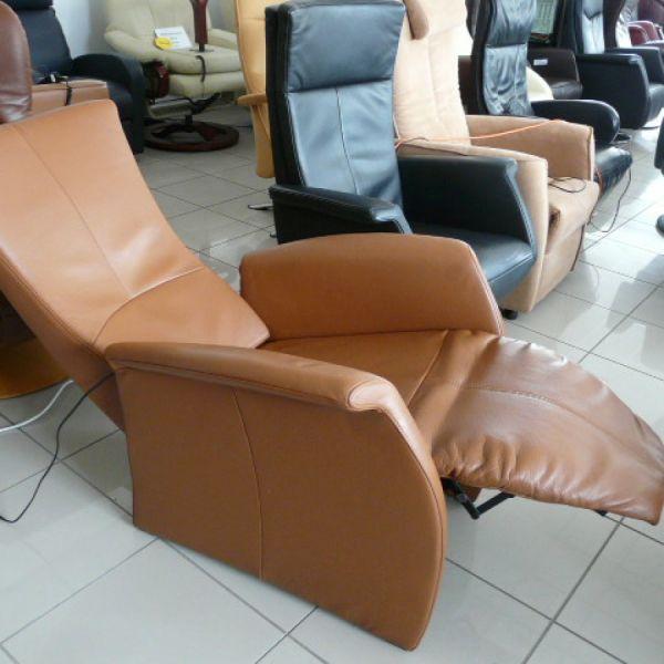 Barna bőr elektromos Relax fotel F032