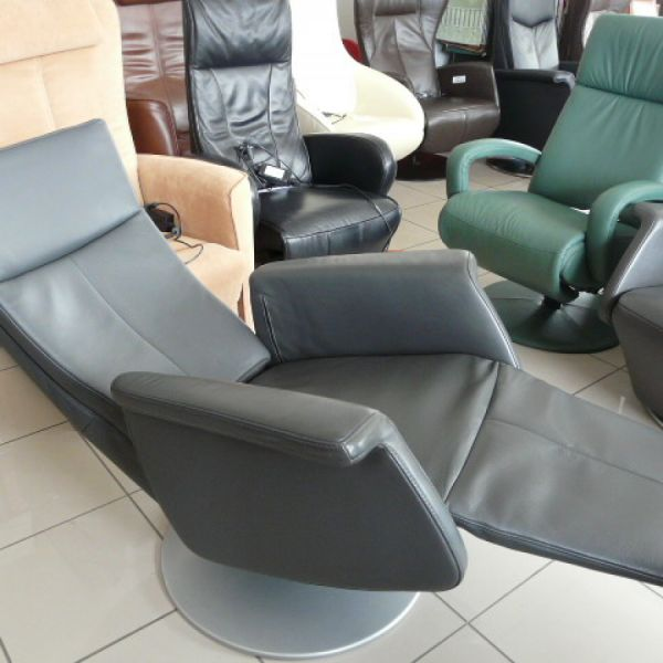 Szürke bőr mechanikus,körbeforgós Relax fotel F030