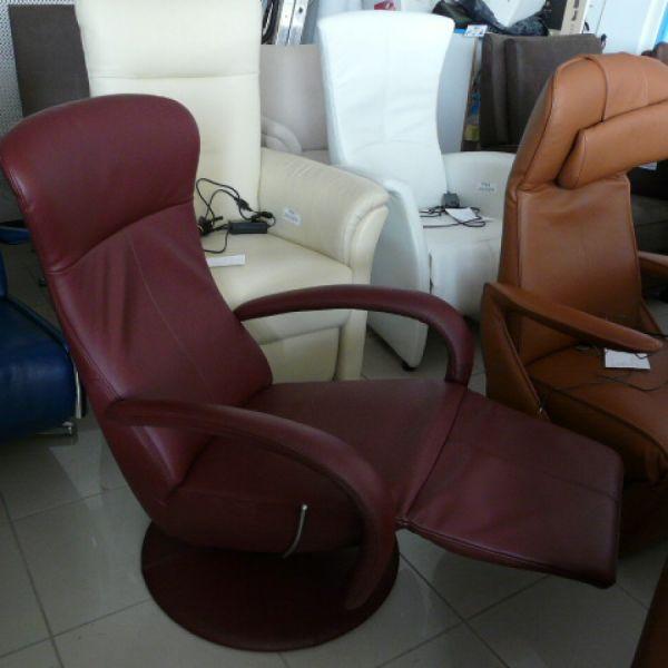 Bordó bőr mechanikus,körbeforgós Relax fotel F092