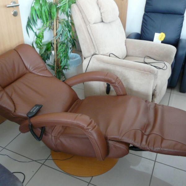 Barna bőr elektromos,körbeforgós Relax fotel F071