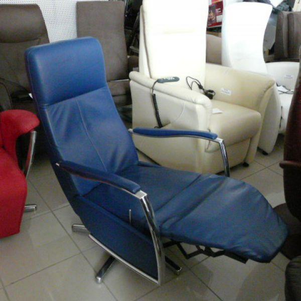 Kék bőr mechanikus,körbeforgós Relax fotel F097