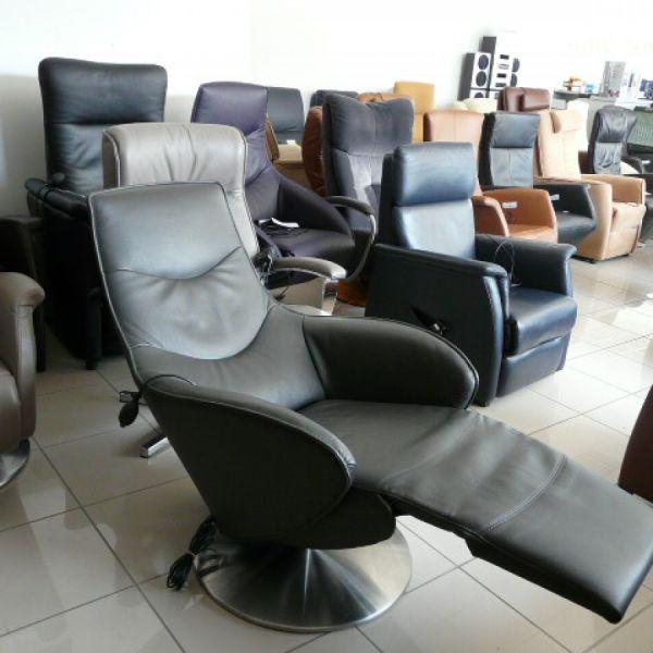 Szürke bőr elektromos,körbeforgós Relax fotel F054