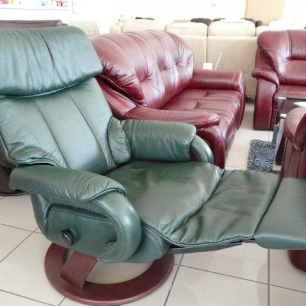 Zöld bőr mechanikus , körbeforgós Relax  fotel F005