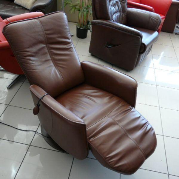 Barna bőr elektromos,körbeforgós Relax  fotel F013