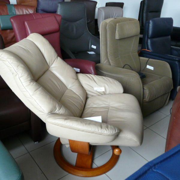 Drapp bőr mechanikus,körbeforgós Relax fotel F078