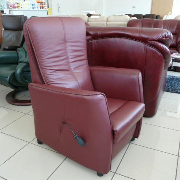 Bordó bőr fix, pumpálható deréktámasztós Relax  fotel F004