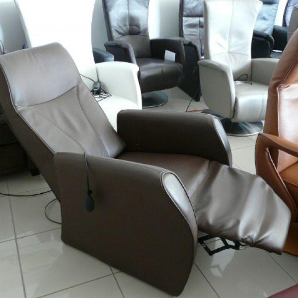 Barna bőr elektromos Relax fotel F050