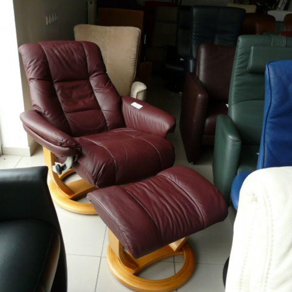 Bordó bőr mechanikus,körbeforgós Relax fotel F077