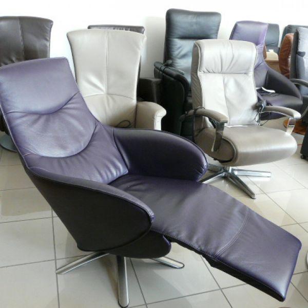 Lila bőr elektromos,körbeforgós Relax fotel F053