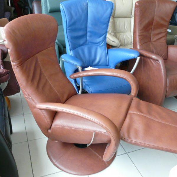Barna bőr mechanikus,körbeforgós Relax fotel F068