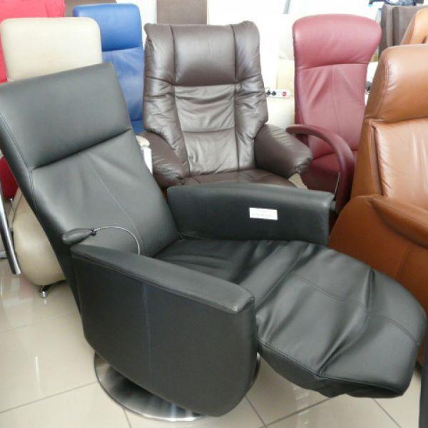 Fekete bőr mechanikus,körbeforgós Relax fotel F084