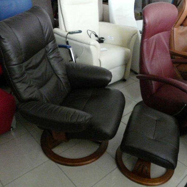 Barna bőr mechanikus,körbeforgós Relax fotel F093