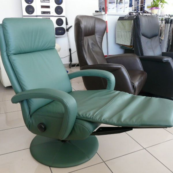 Zöld bőr mechanikus ,körbeforgós Relax fotel F022