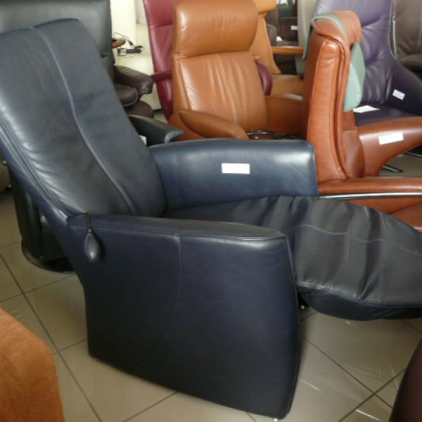 Kék bőr mechanikus Relax fotel F082