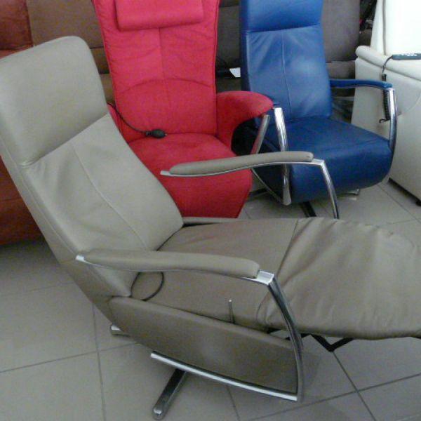 Szürke bőr mechanikus,körbeforgós Relax fotel F094